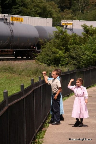 Visitors to the Horseshoe Curve watch the trains go by in Altoona, Pennsylvania.