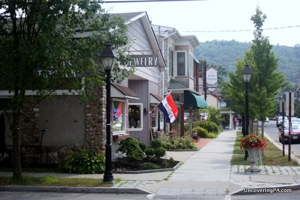 Local shops line a street in downtown Milford, Pennsylvania.