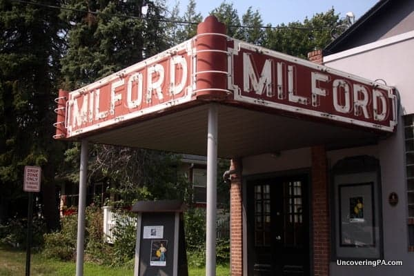 The historic Milford Theater lies on a residential street in downtown Milford, Pennsylvania.
