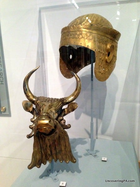 A golden bull and helmet discovered at the ancient city of Ur in present day Iraq at the Penn Museum.