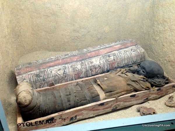 The mummy of a child on display at the Penn Museum in downtown Philly.