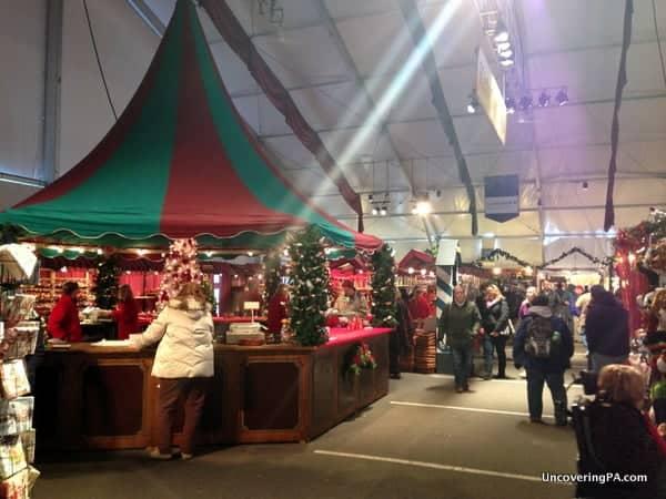 Shoppers browsing one of the stalls at Bethlehem's Christkindlmarkt.