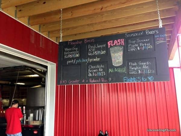 The menu board at the Brewery at Hershey.