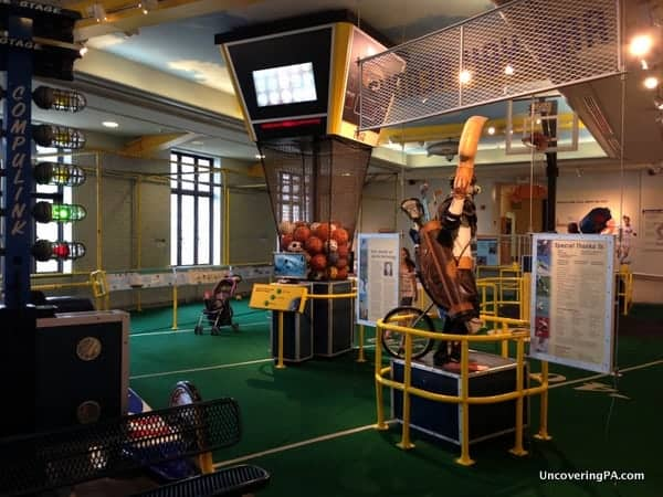 The Sports Challenge Area at the Franklin Institute.