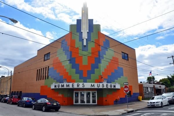 The exterior of the Mummers Museum in Philadelphia, PA