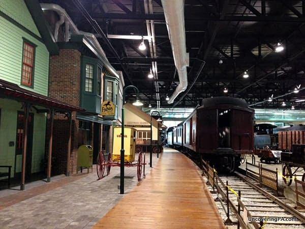 A recreated 1915 train station at the Railroad Museum of Pennsylvania.
