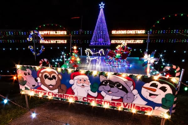 Holiday lights at Koziar's Christmas Village