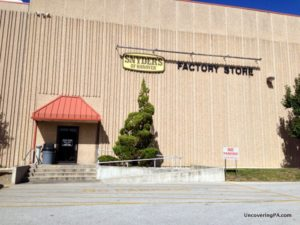 The entrance for the Snyder's of Hanover Factory Tour and the factory store in Hanover, Pennsylvania.