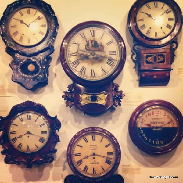 A selection of the many wall clocks at the National Watch and Clock Museum in Columbia, Pennsylvania.