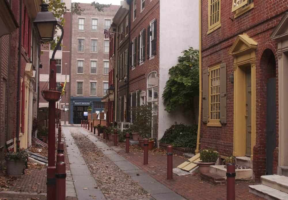VIsiting Elfreth's Alley in Philadelphia, Pennsylvania.