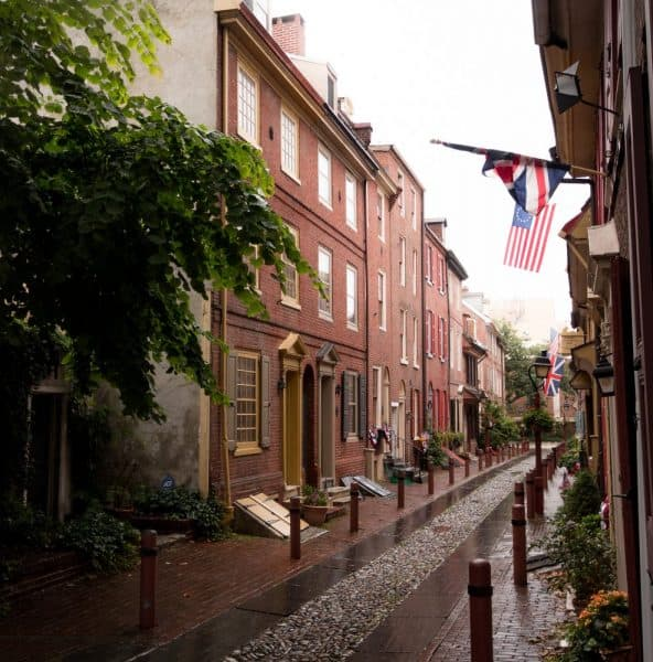 Elfreth's Alley in Philadelphia on a rainy day