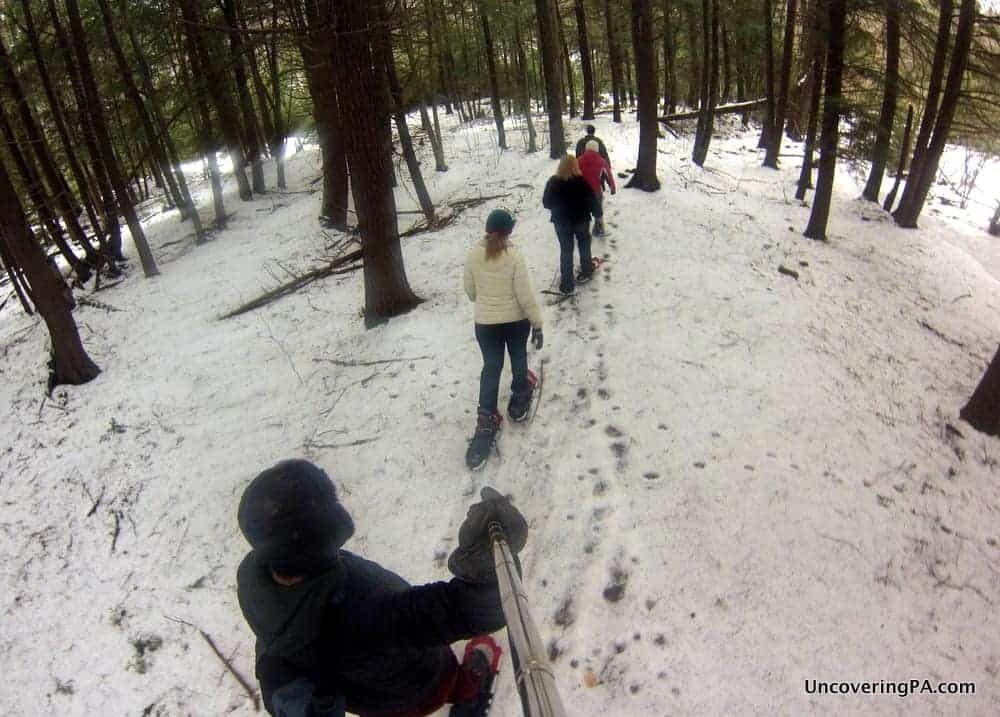 We didn't have ideal conditions, but we still had a great time snowshoeing in Parker Dam State Park.