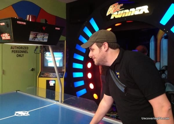 Playing some Air Hockey at Fun Central in Clearfield, Pennsylvania.