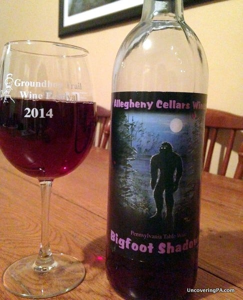 Enjoying a glass of Bigfoot Shadows wine from Allegheny Cellars Winery.
