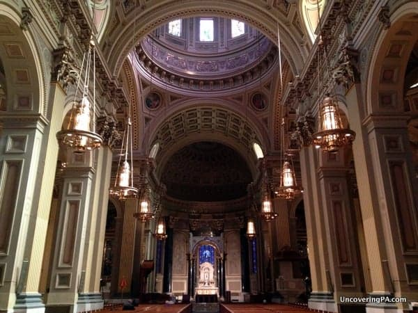 The beautiful interior of the Cathedral Basilica of Saints Peter and Paul in Philadelphia.