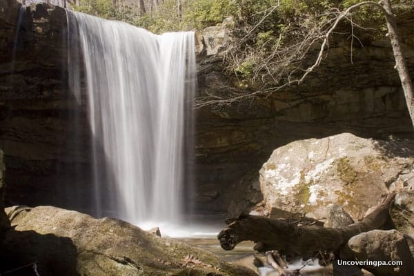 Cucumber Falls in Ohiopyle State Park is an easily accessible PA waterfall