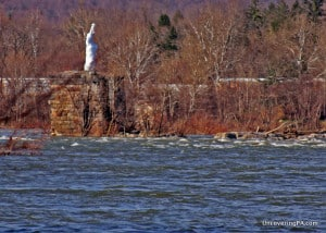 The Statue of Liberty in the Susquehanna River near Harrisburg, Pennsylvania.