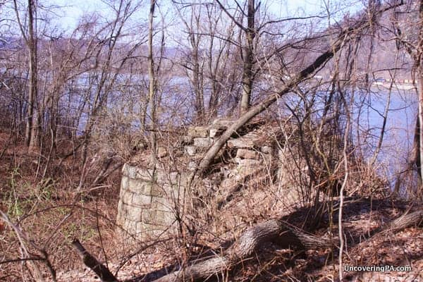 When you see this old railroad bridge piling, head down along the left side of the structure to Harrisburg's Statue of Liberty.