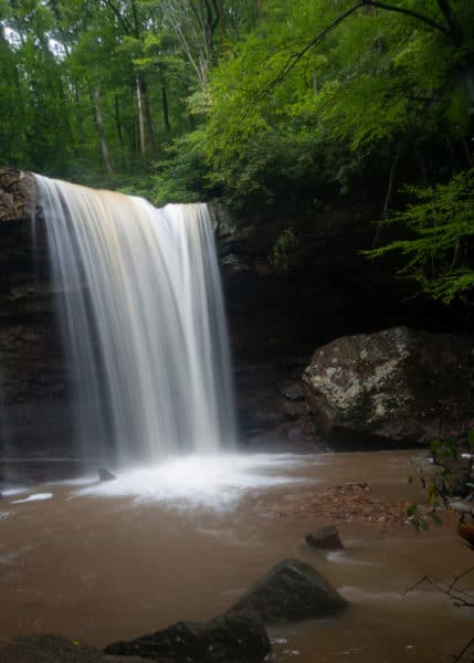 Cucumber Falls in Ohiopyle State Park in the summer