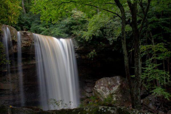 Visiting Cucumber Falls in Ohiopyle State Park. Laurel Highlands of Pennsylvania.