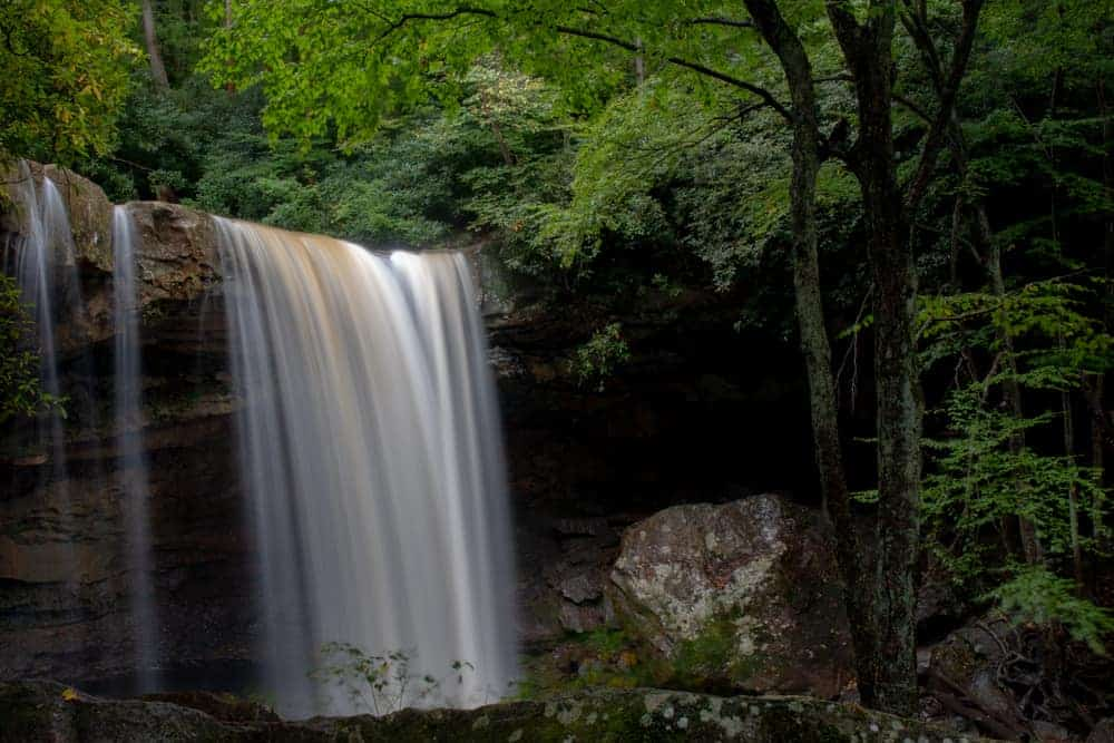 Visiting Cucumber Falls in Ohiopyle State Park. Laurel Highlands of Pennsylvania.
