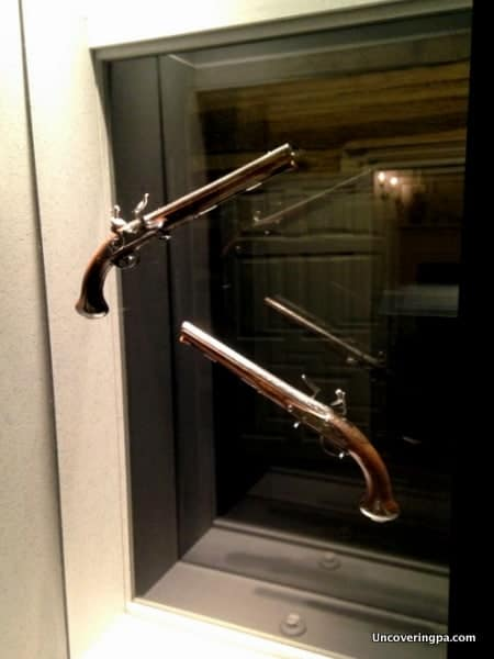 George Washington's pistols on display at the Fort Ligonier Museum.