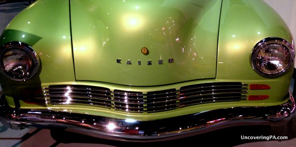 A closeup of a vintage car the antique automobile museum in Hershey, Pennsylvania.