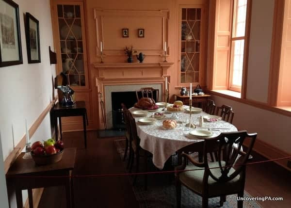 The Bradford House's dining room where meetings were held about the Whiskey Rebellion.