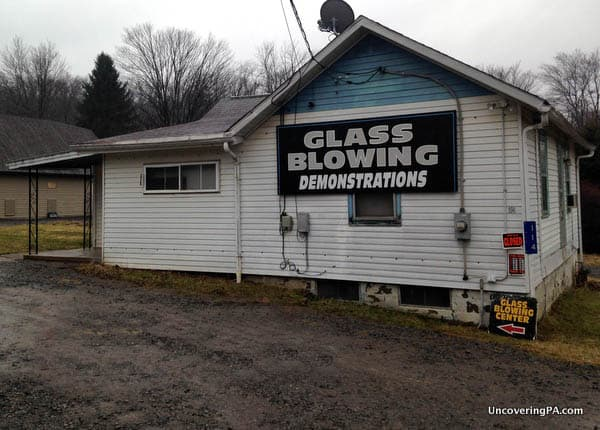 The unassuming exterior of the Glass Blowing Center in Butler County, Pennsylvania.
