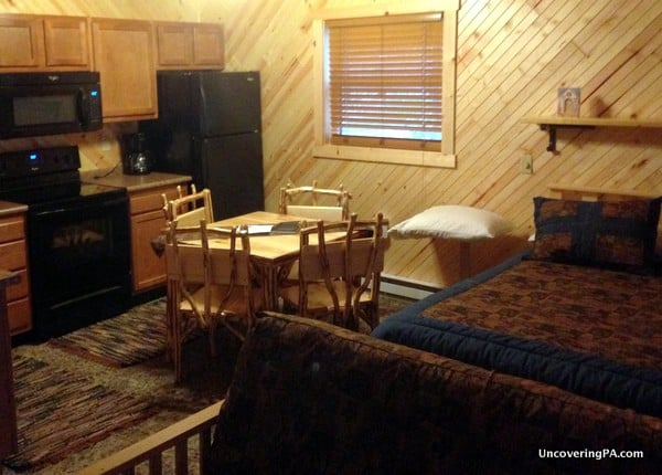The kitchen and sleeping area inside my 2-person cabin at Wapiti Woods in Elk County, Pennsylvania
