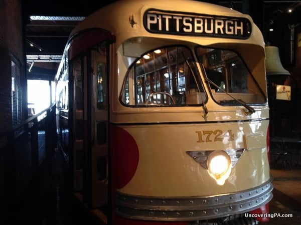 A fully restored Pittsburgh trolley sits on the first floor of the Heinz History Center.