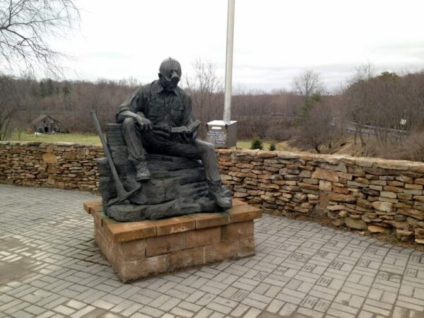 A statue at the Quecreek Mine Rescue Site in Somerset County PA