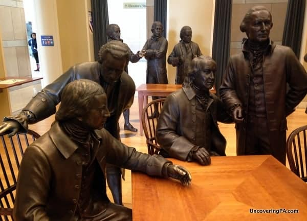 Statues inside the Signer's Hall at the National Constitution Center in Philadelphia, Pennsylvania