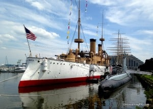 The Olympia and Becuna sit outside the Independence Seaport in Philadelphia, Pennsylvania.