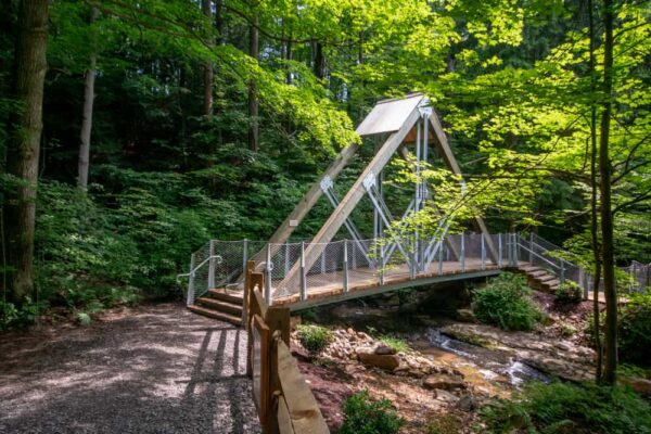 Bridge at Buttermilk Falls Natural Area in Pennsylvania