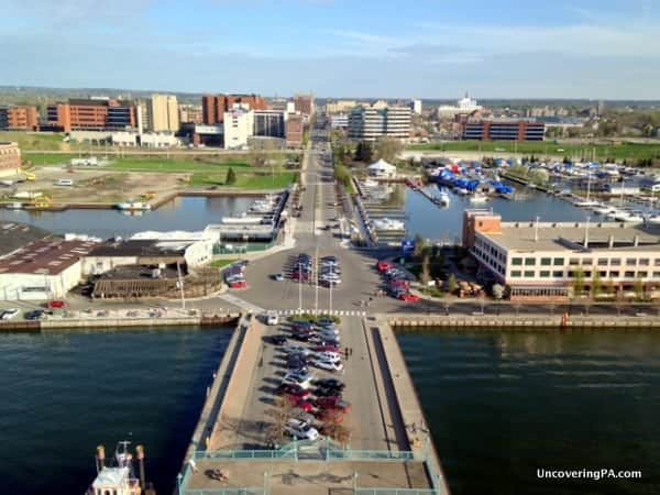 Overlooking downtown Erie from the top of Erie's Bicentennial Tower.