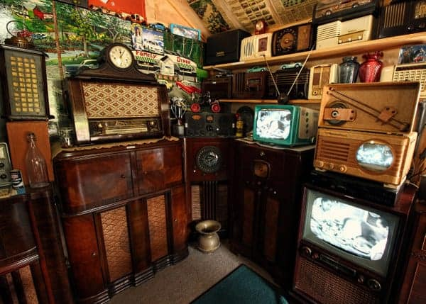 A collection of antique radios and TVs at the Fifties Place and Mini Museum in Bedford, Pennsylvania.