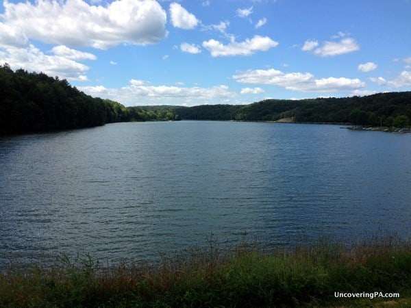The view of Holman Lake from the top of the dam in Little Buffalo State Park.