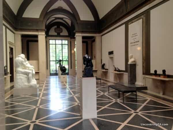 The striking interior of the Rodin Museum in Philadelphia, Pennsylvania.