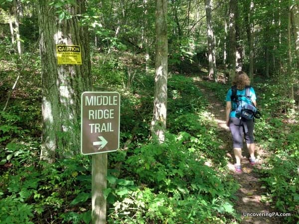 Hiking along the Middle Ridge Trail in LIttle Buffalo State Park.