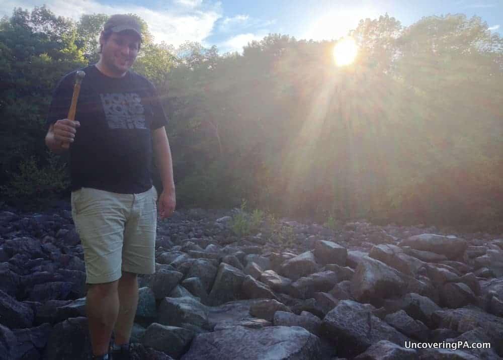 Visiting Ringing Rocks County Park in Bucks County, Pennsylvania.