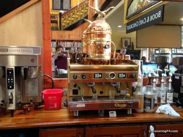 The beautiful, vintage coffee machine at Midtown Scholar's cafe.