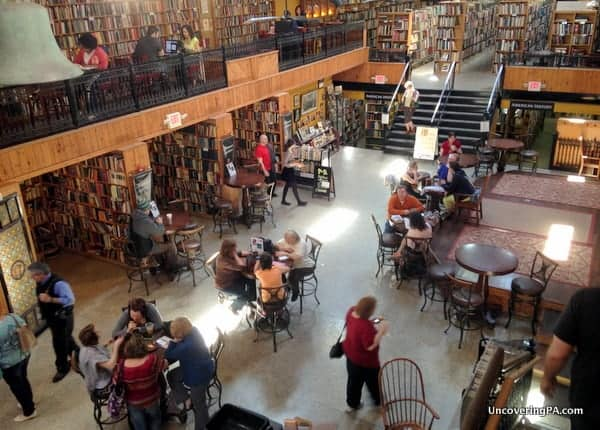 Midtown Scholar Bookstore in Harrisburg, Pennsylvania from above.