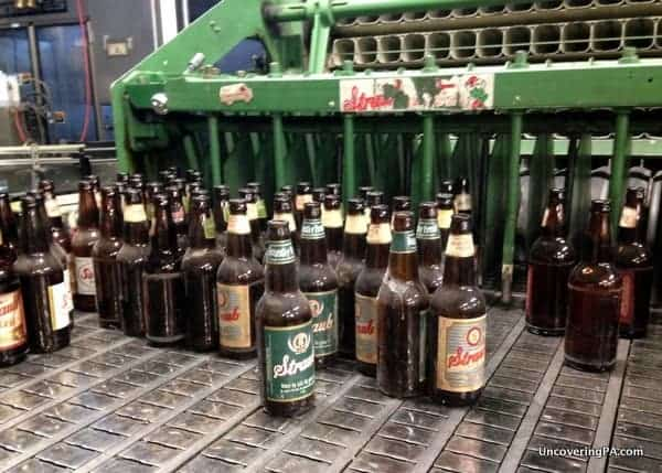 Returned bottles ready to be cleaned and filled at Straub Brewery in Saint Marys, Pennsylvania.
