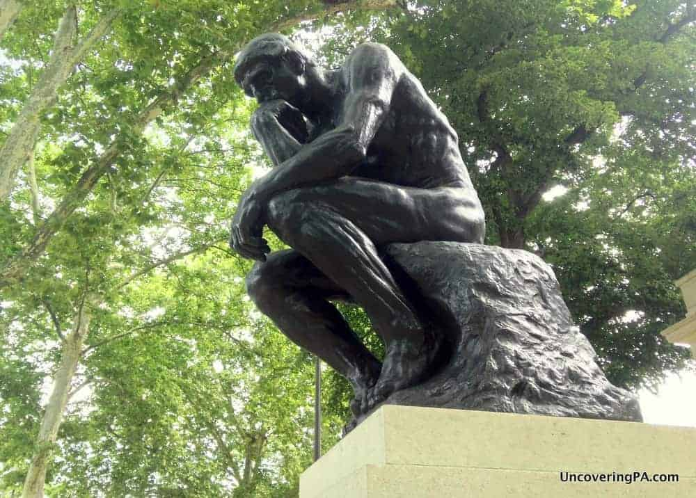 The Thinker by Rodin outside the Rodin Museums in Philadelphia, Pennsylvania.