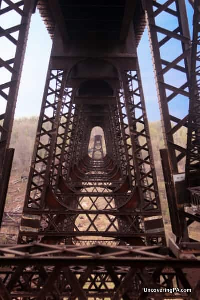 The view from underneath the Kinzua Bridge.