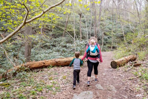Mother and son hiking on the Mason-Dixon Trail in York County Pennsylvania