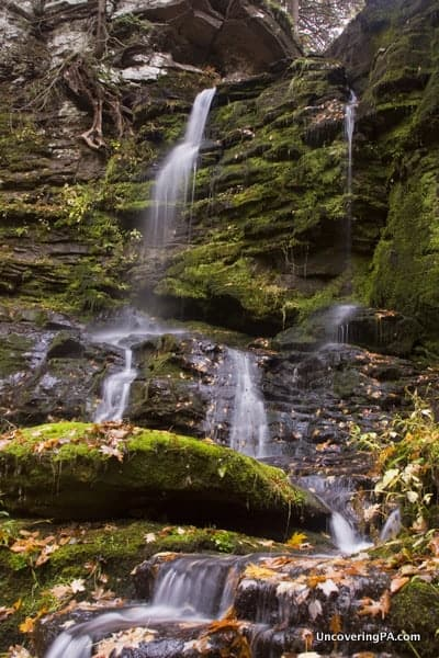 The various cascades of Bowman Hollow Falls are only visible when the water is low.