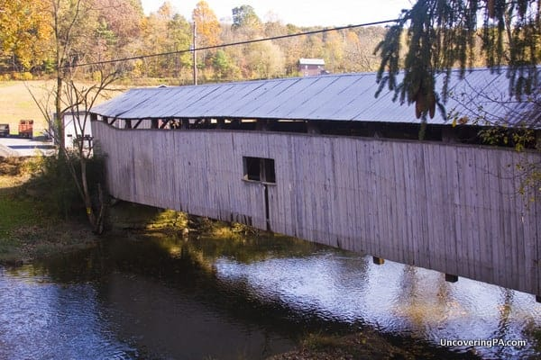 Another angle of the dilapidated Dimmsville Covered Bridge in Juniata County, Pennsylvania.