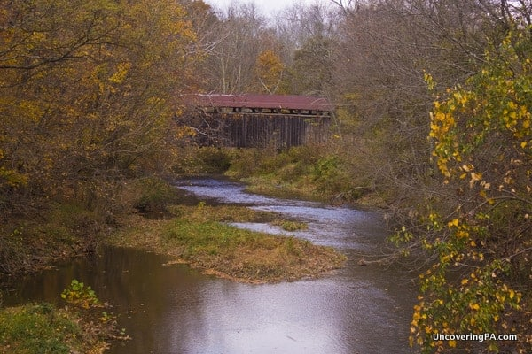 The view of East Oriental Covered Bridge from the nearby road.